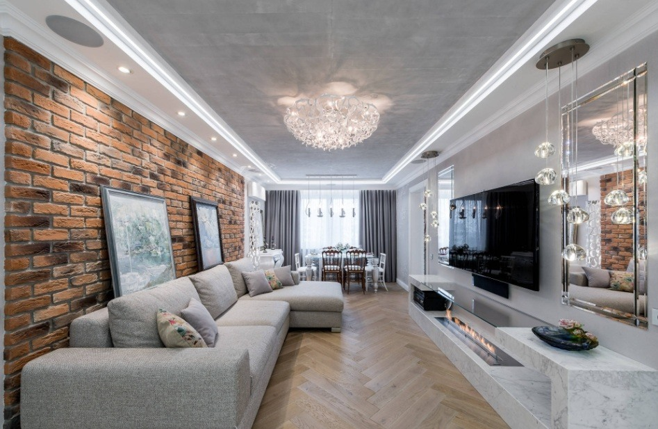 Best Modern Living Room Design Trends 2020. Gray and wooden tones