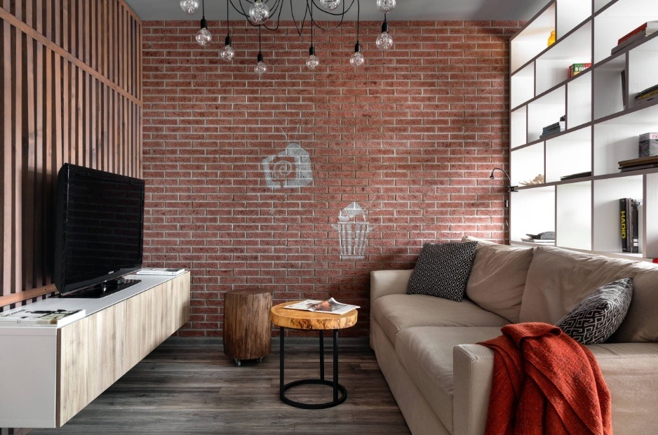 Best Modern Living Room Design Trends 2020. Loft touch of the interior with solid brickwork accent wall
