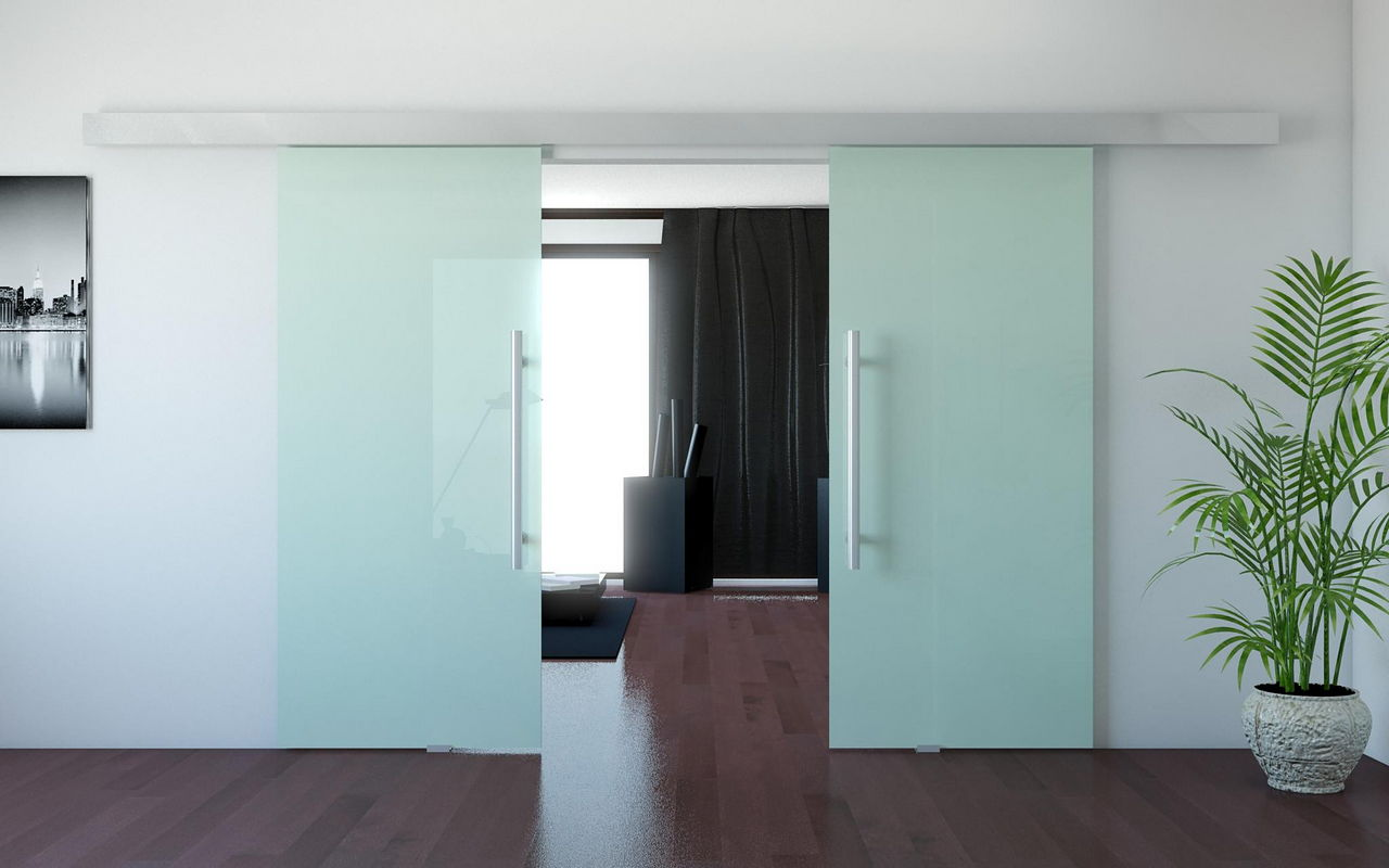 Interior Glass Doors: Best Design Ideas and Application. Great design of the matte sliding doors with chromed handles