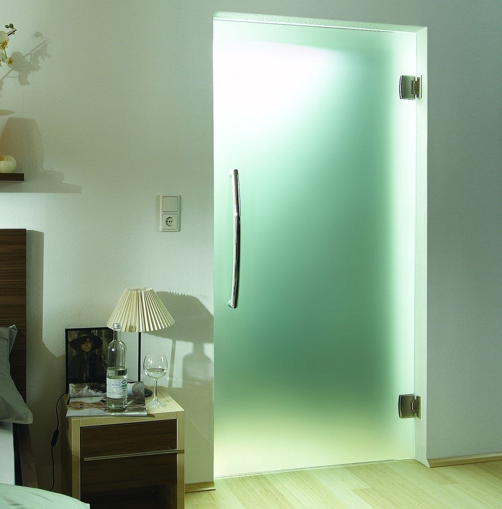 Bedroom with the interior glass doors to the bathroom