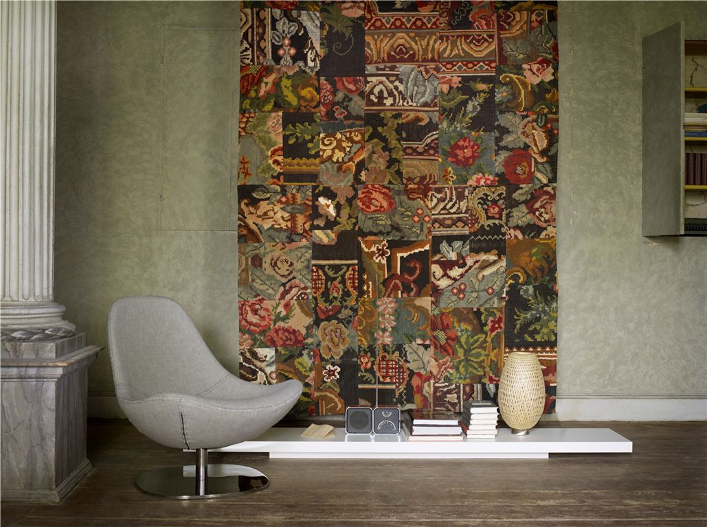 Patchwork designed carpet for the wall