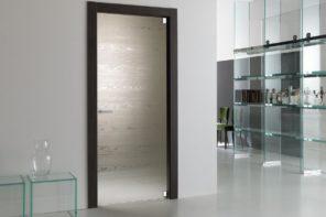 Matte glass door with dark frame