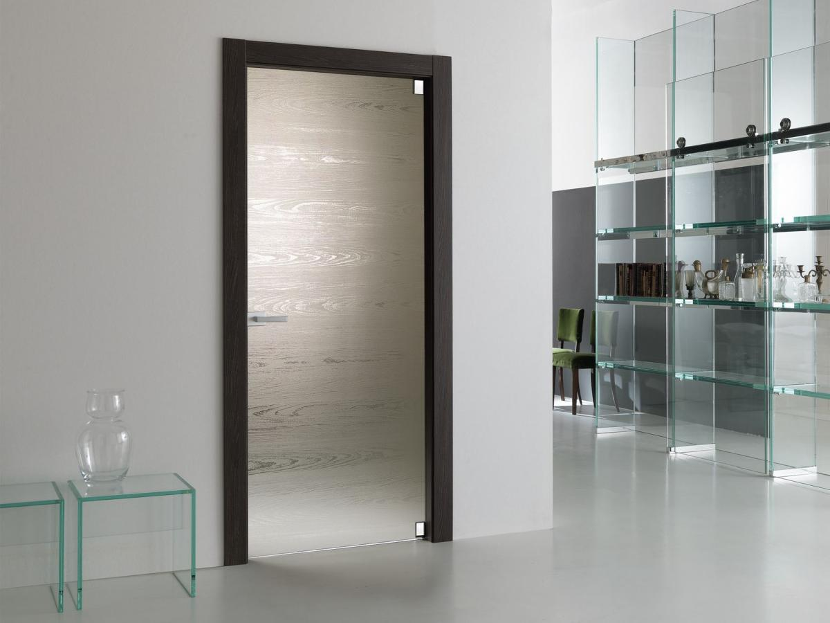 Matte glass door with dark frame