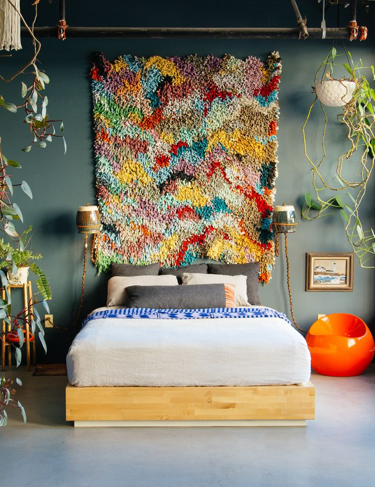 Carpet on the Wall: Modern Interior Design Ideas. Fluffy rug at the headboard