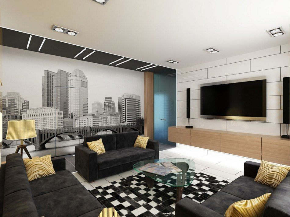 Spacious living room with dark central sofa