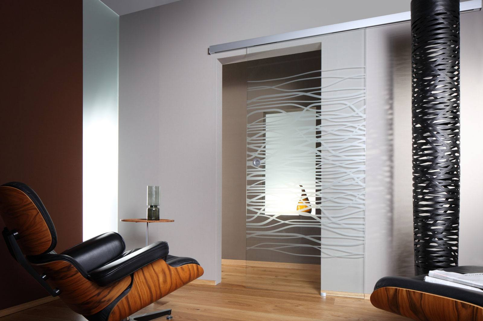 Interior Glass Doors: Best Design Ideas and Application. Nice relaxing zone with the almost invisible sliding panel