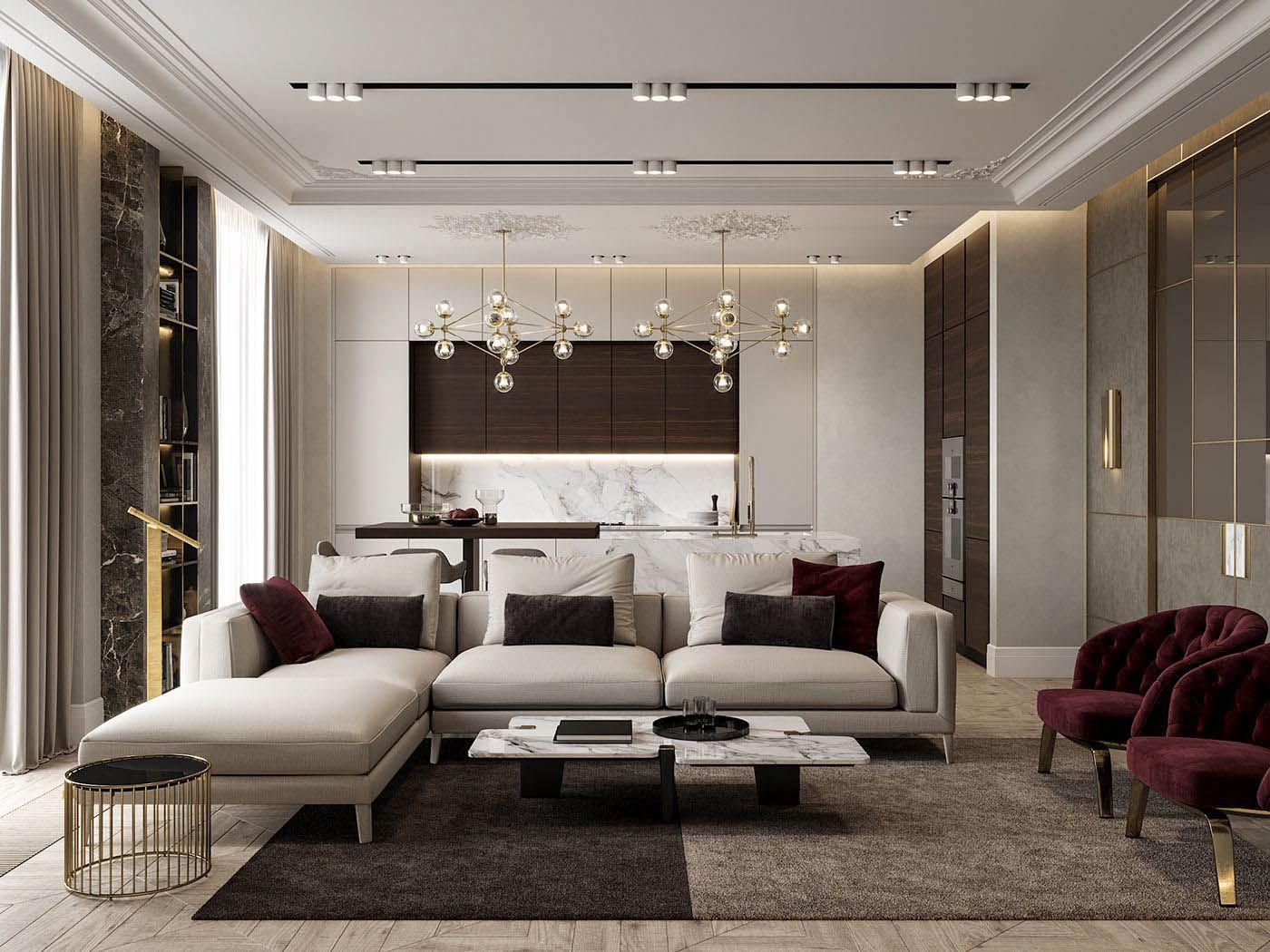 White and brown combination of the modern spacious living and dining room in one
