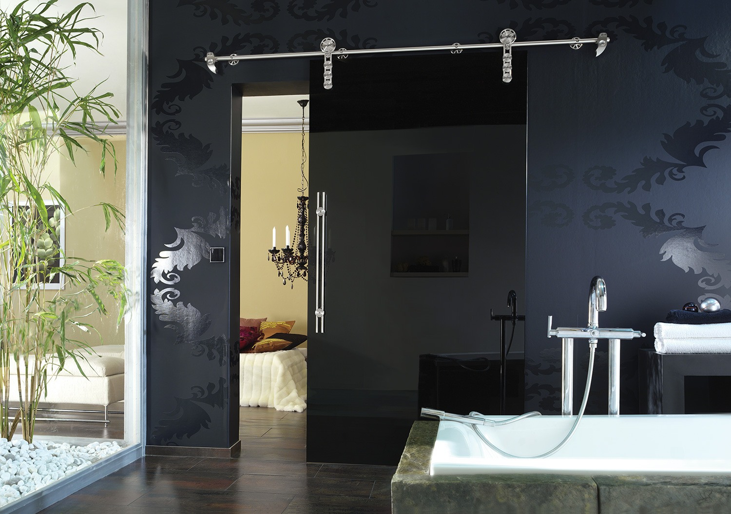 Interior Glass Doors: Best Design Ideas and Application. Dark colored room