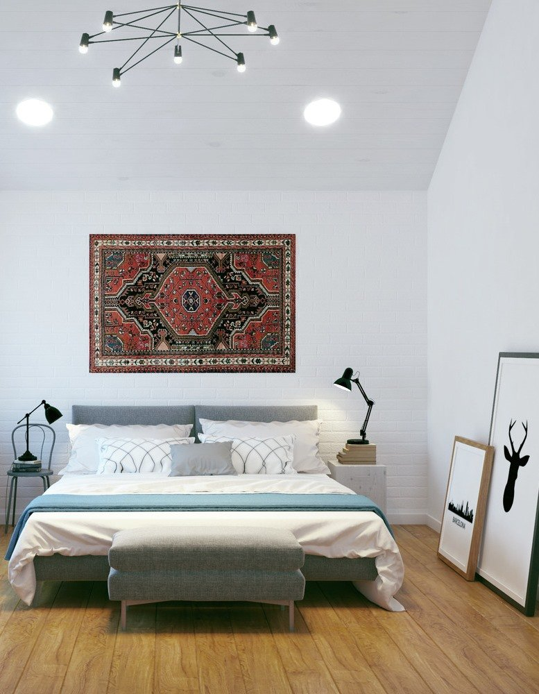 Simple and ascetic design of the white colored room