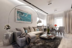 Marvelous living room design with the modern floor lamp over the chatting zone