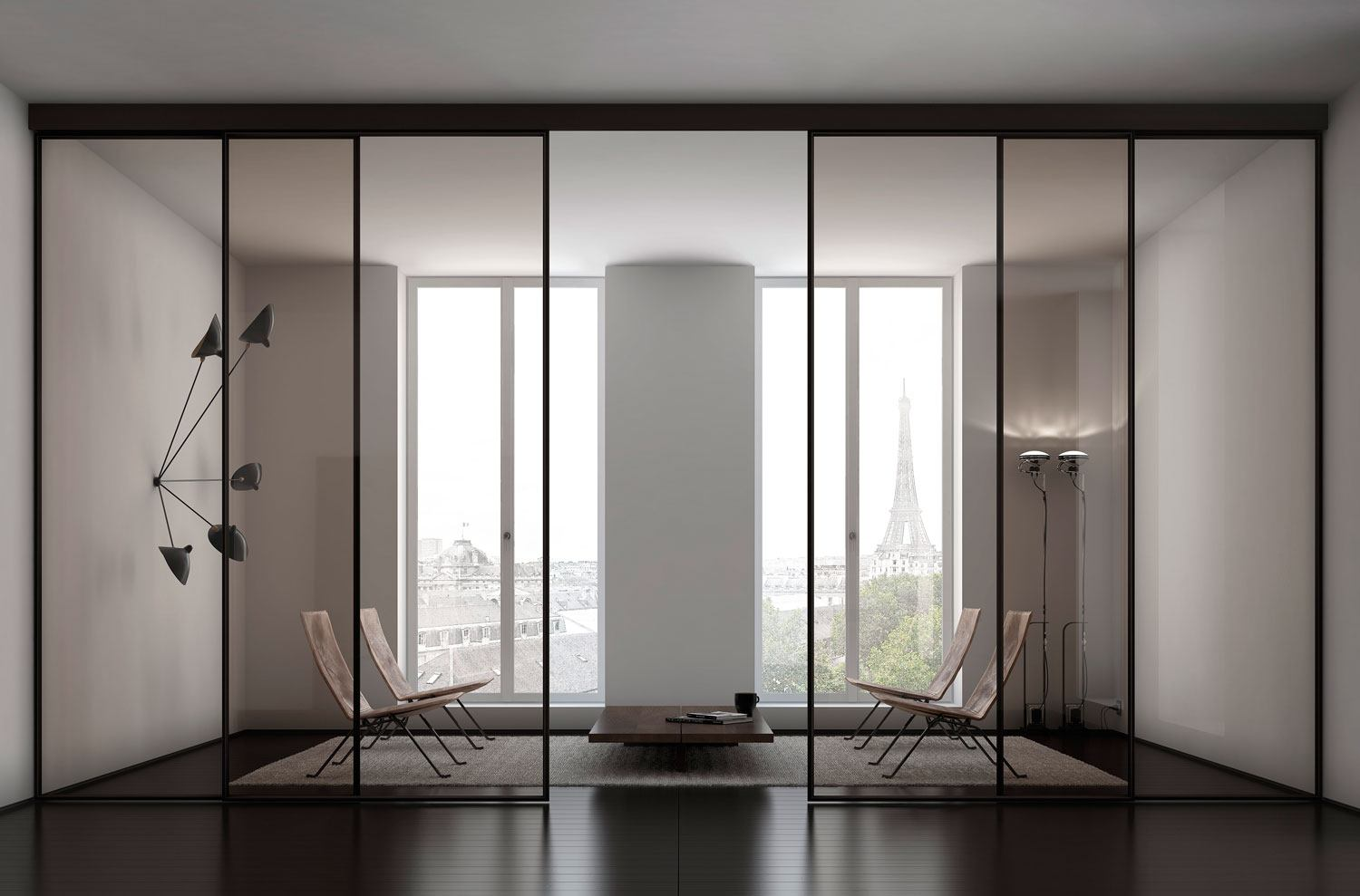 Glass wall for modern apartment with Oriental minimalistic approach