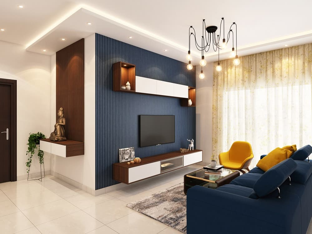 A Complete Guide On Importance Of House Decoration. Great blue accent wall with flatscreen tv and black steampunk chandelier