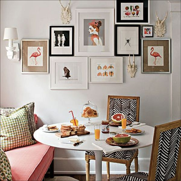 10 Best Kitchen Walls Design Ideas. Small dining zone adorned with pictures
