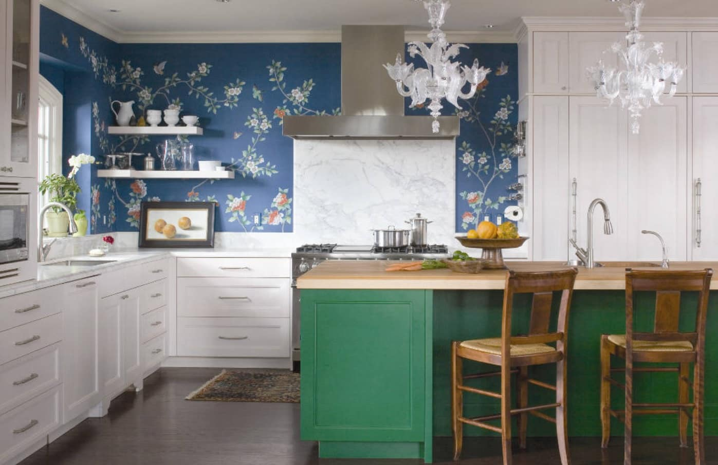 10 Best Kitchen Walls Design Ideas. Blue naturalistic wallpaper for casual styled area