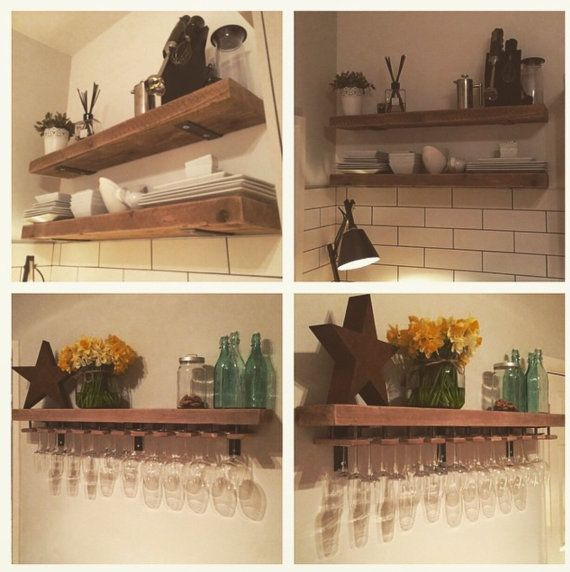 Wooden shelves in the kitchen with threaded decoration