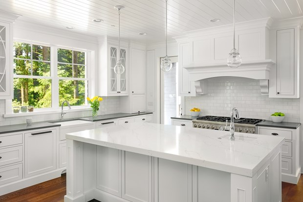 Classic matte white styled kitchen with large island