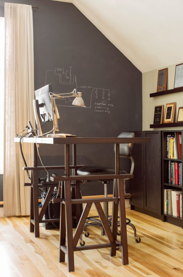 Home study with complex adjustable desk as a centerpiece of the interior