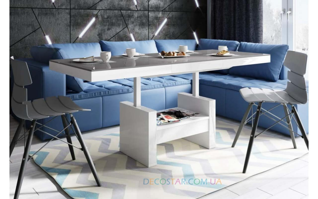 Coffee table that can change its height for modern living room with pink sofa