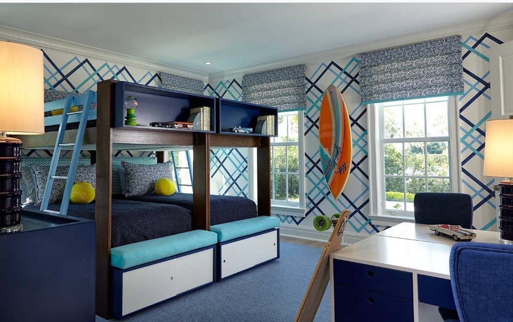 Bunk Bed as an Option to Enhance the Interior Functionality. Great oceanside house idea for the styling with blue colors