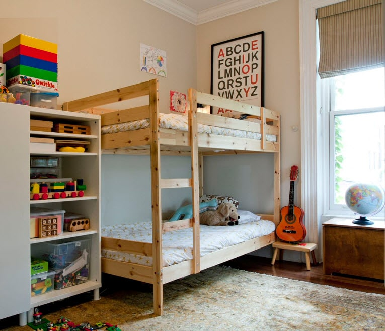 Bunk Bed as an Option to Enhance the Interior Functionality. Light barely treated wood for bed in casual style