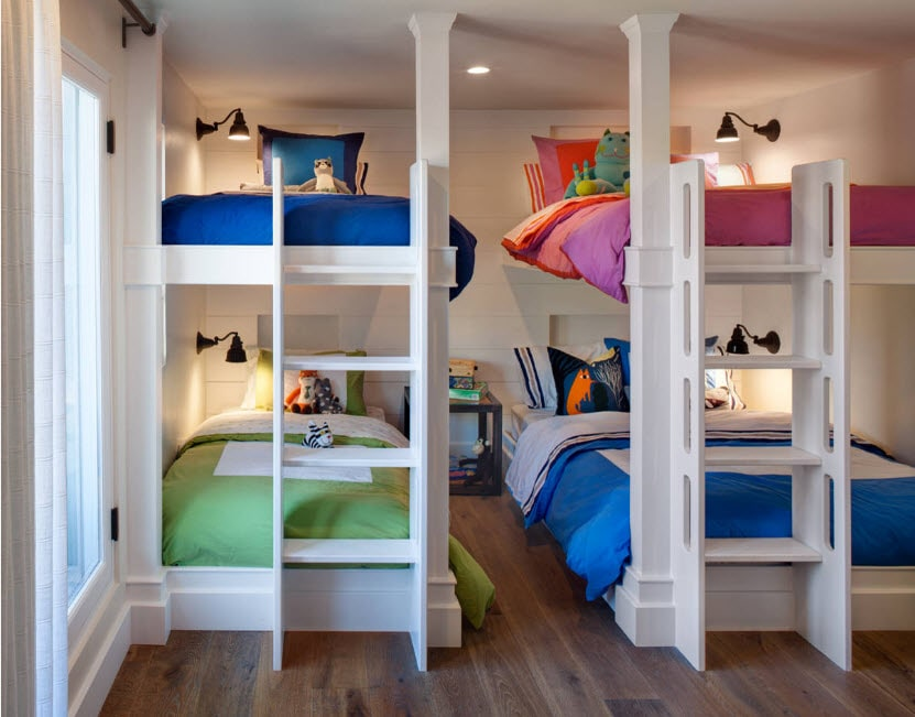 Bunk Bed as an Option to Enhance the Interior Functionality. Two white beds