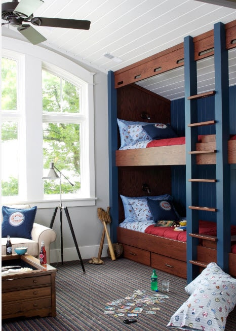Dark wooden conrasting bunk bed in the white childrens' room