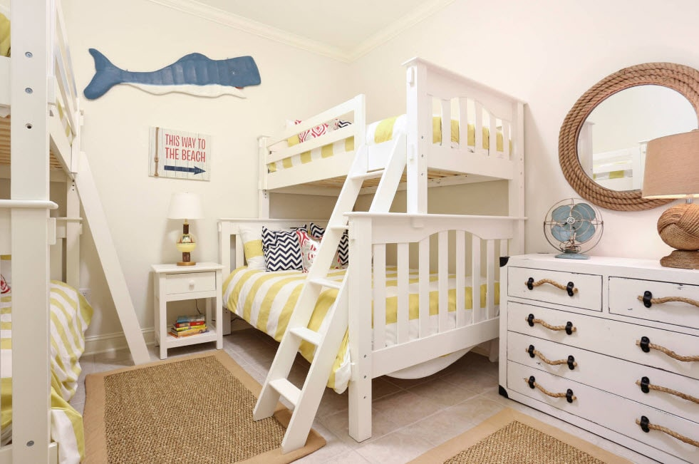 White matte colored bunk bed with high handrails