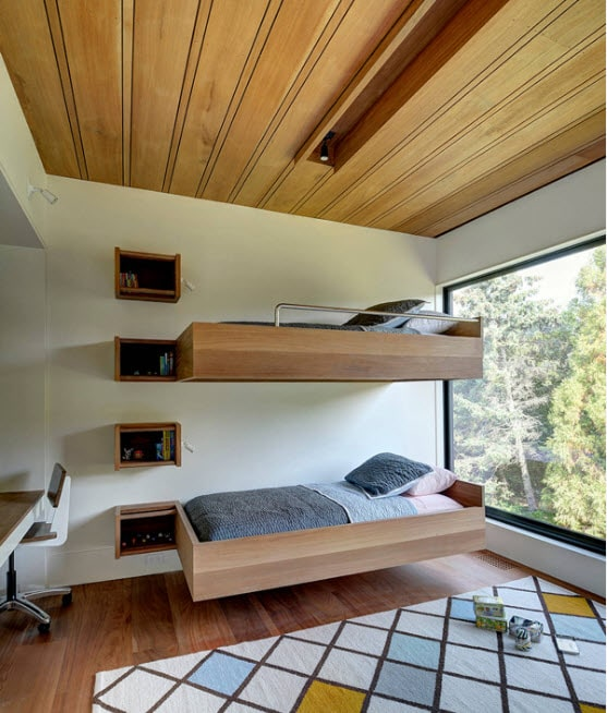 Hovering wooden framed bunk bed in two levels for modern styled room