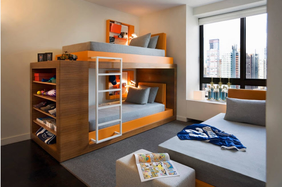 great modern kids room design with solid framed bunk bed with orange inlays