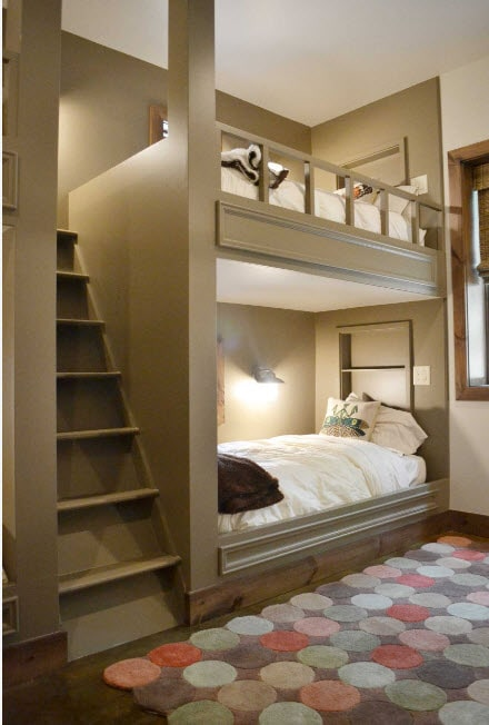 Great modern bunk bed with the backlight