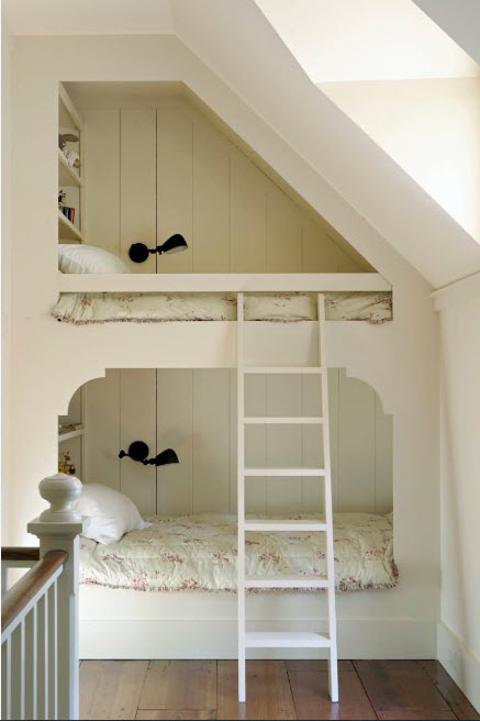 Loft designed bunk bed in pastel tones
