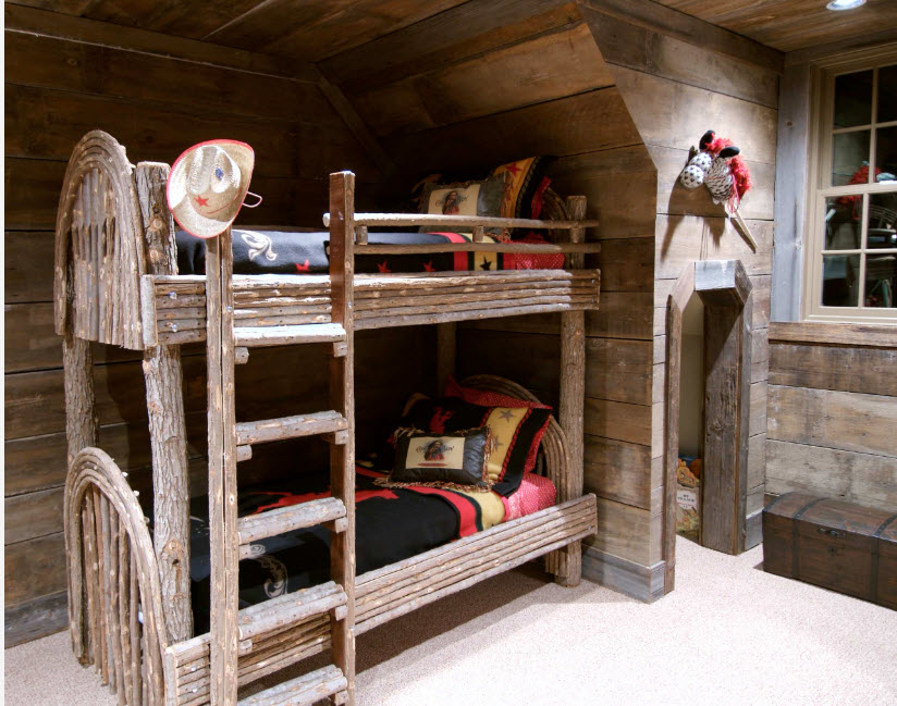 Bunk bed with dark wooden frame with open second level