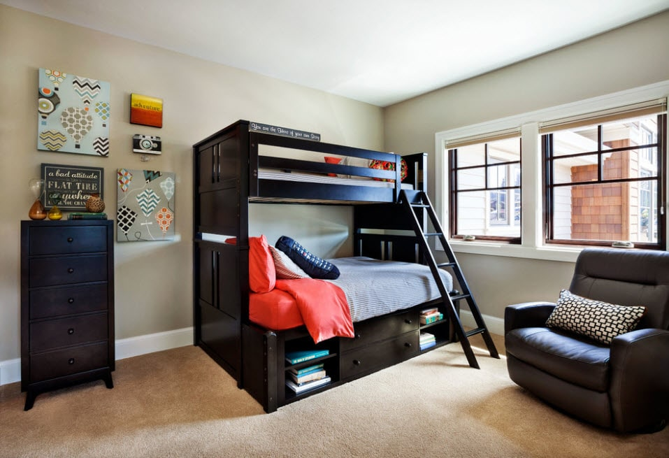 Bunk Bed as an Option to Enhance the Interior Functionality. Dark wooden bed with built-in shelves