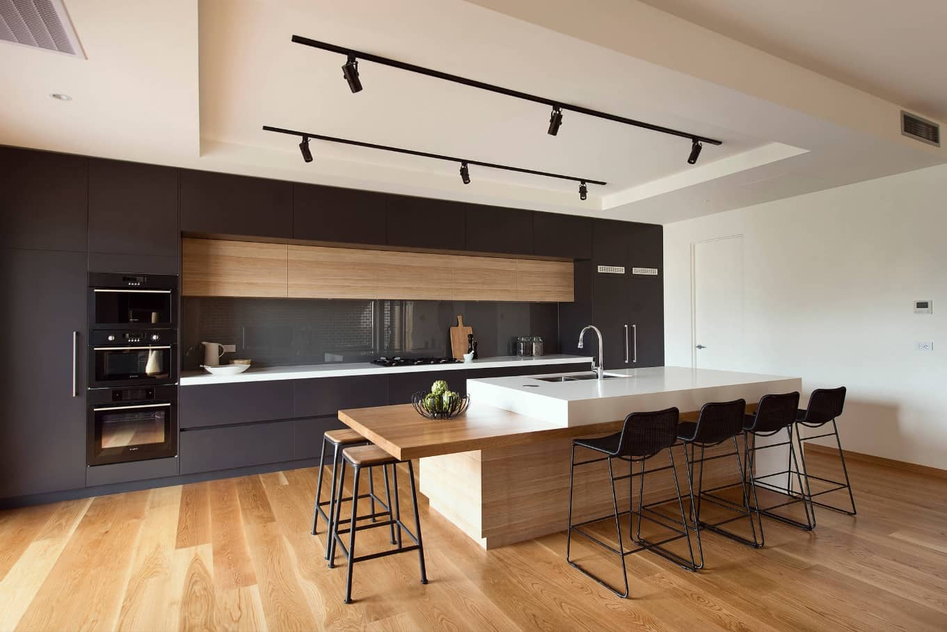 10 Amazing Ways to Give Your Kitchen a New Look. High tech interior with rod lighting, wooden material to finish
