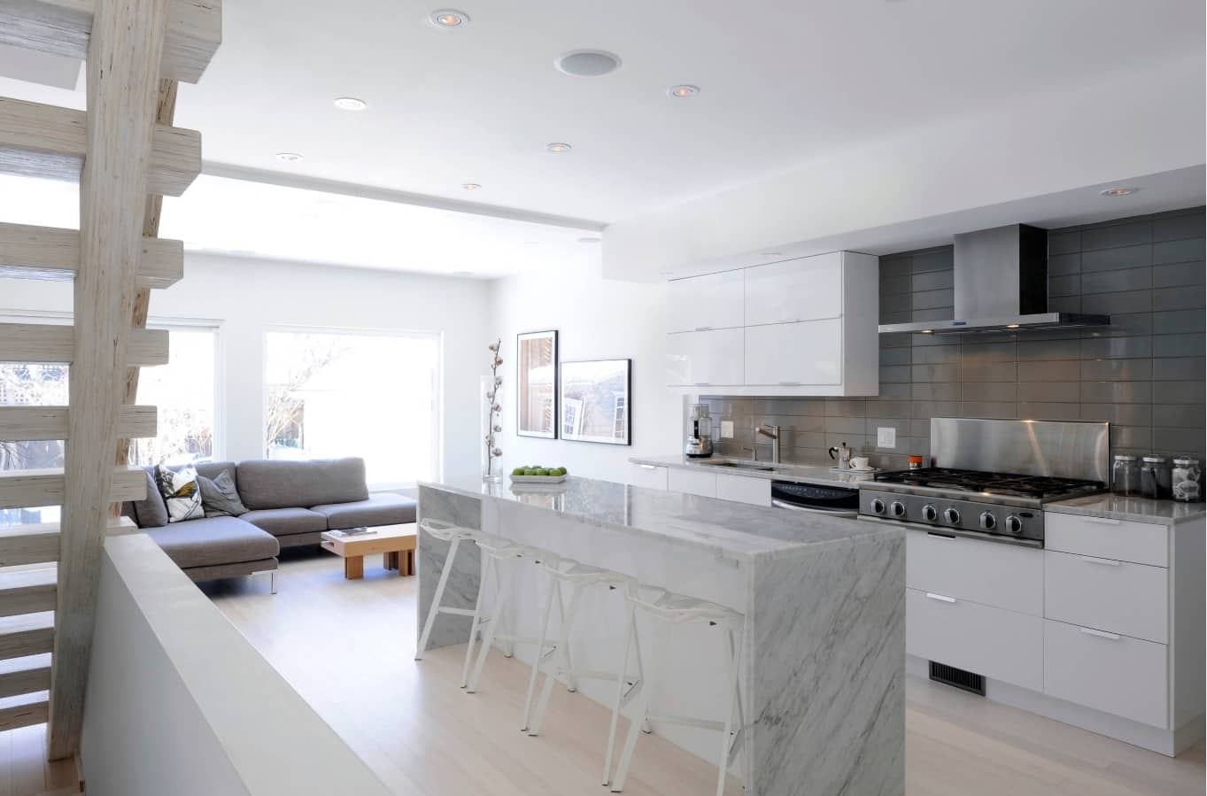 Modern designed kitchen with marble island