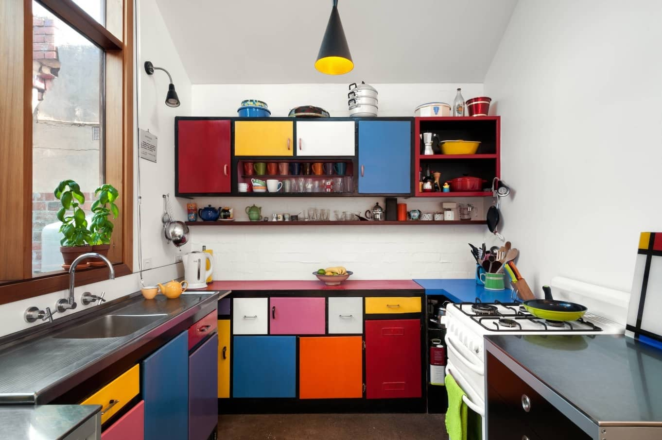 Multicolored kitchen cabinets for small casual kitchen