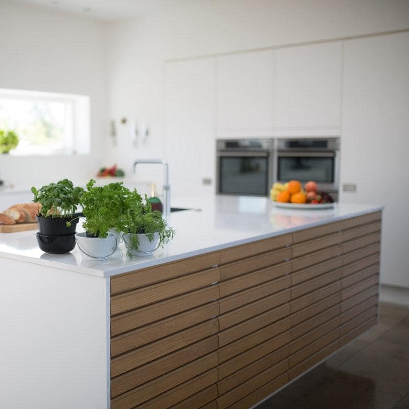 7 Kitchen Design Trends For 2020. Hovering island in the totally white interior