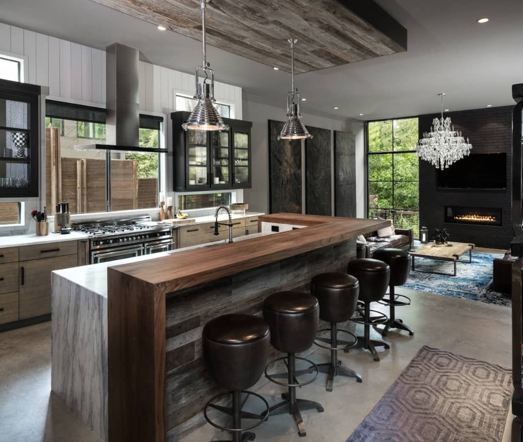 Great modern levelled kitchen design with waterfall countertop