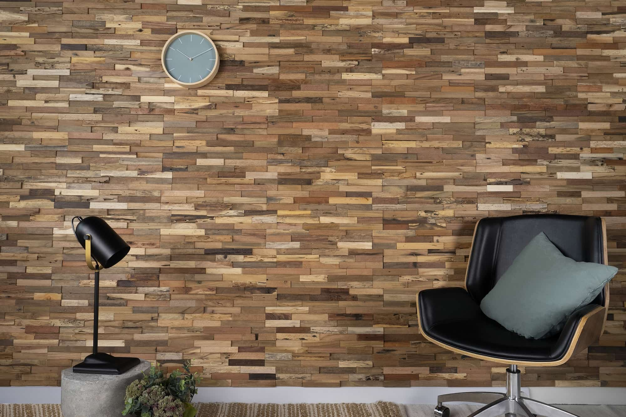 Reclaimed Wood Panels: An Eco-Friendly Way to Enhance Your Home Decor. Nice solid planked accent wall and the leisure chair