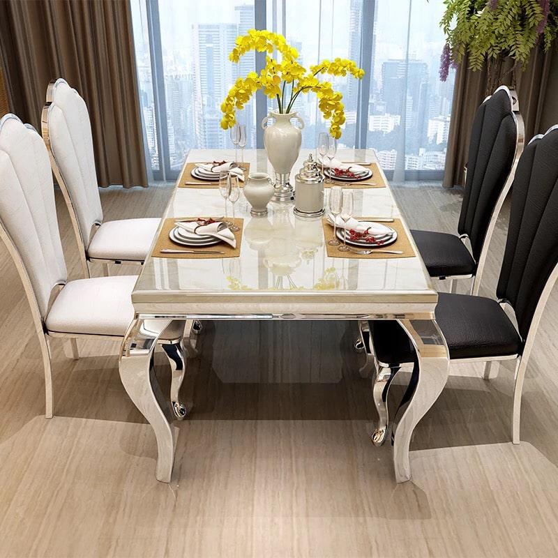 Impressive black and white dining room set
