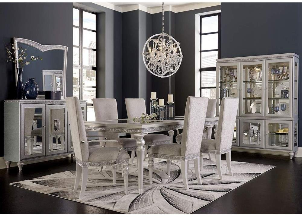 The most impressive dining room set in silver and white colors