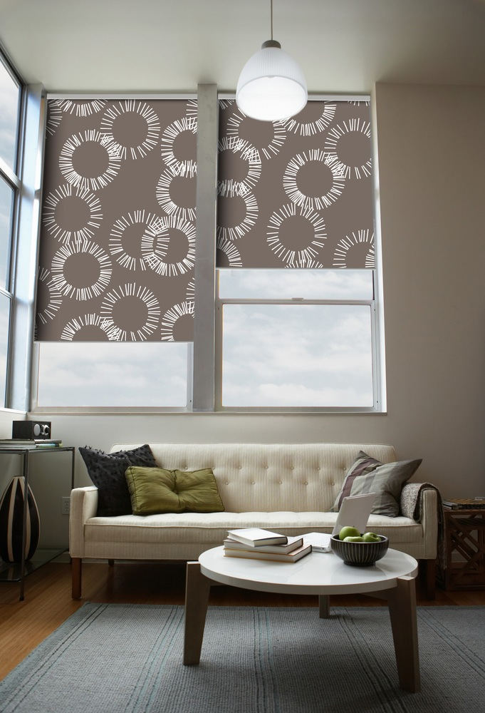 Gray roller blinds curtain with floral motiff
