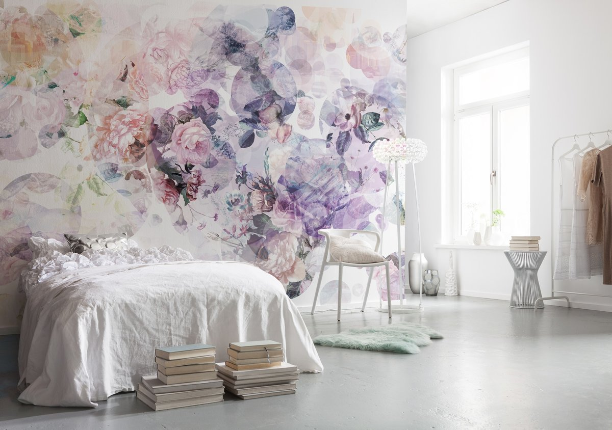 Bedroom Interior Design Ideas, Trends and Solutions 2020. Blooming flowers painted wall with shabby chic furniture upholstering
