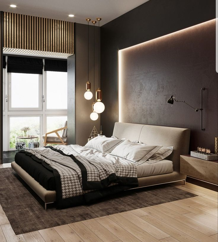 Great LED backlight idea for the headboard of the king size bed