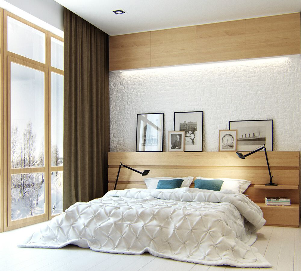 White and wooden integration for modern designed bedroom with adjustable night lamps