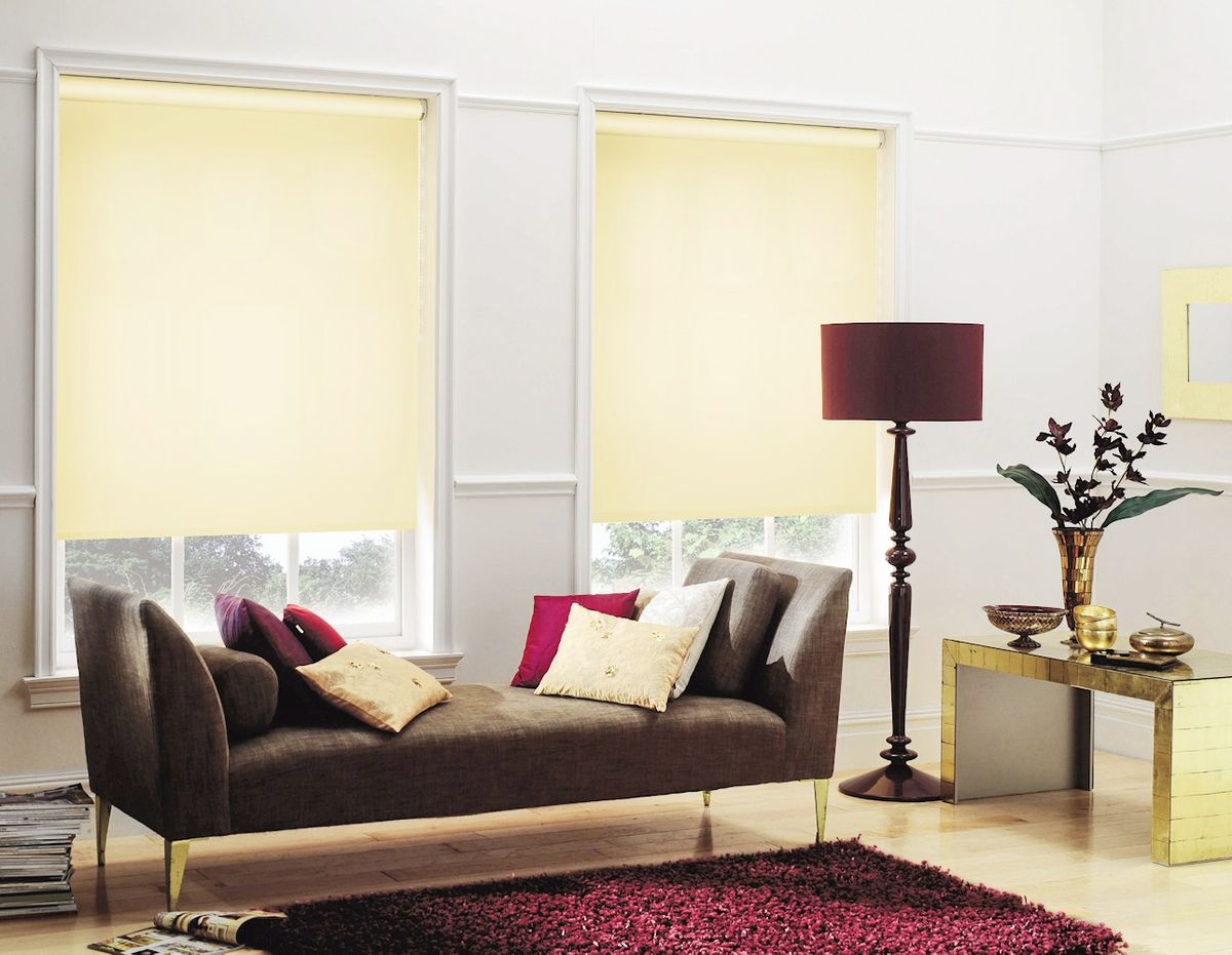 Lemon colored blinds for cozy atmosphere of the living room with dark coffe sofa