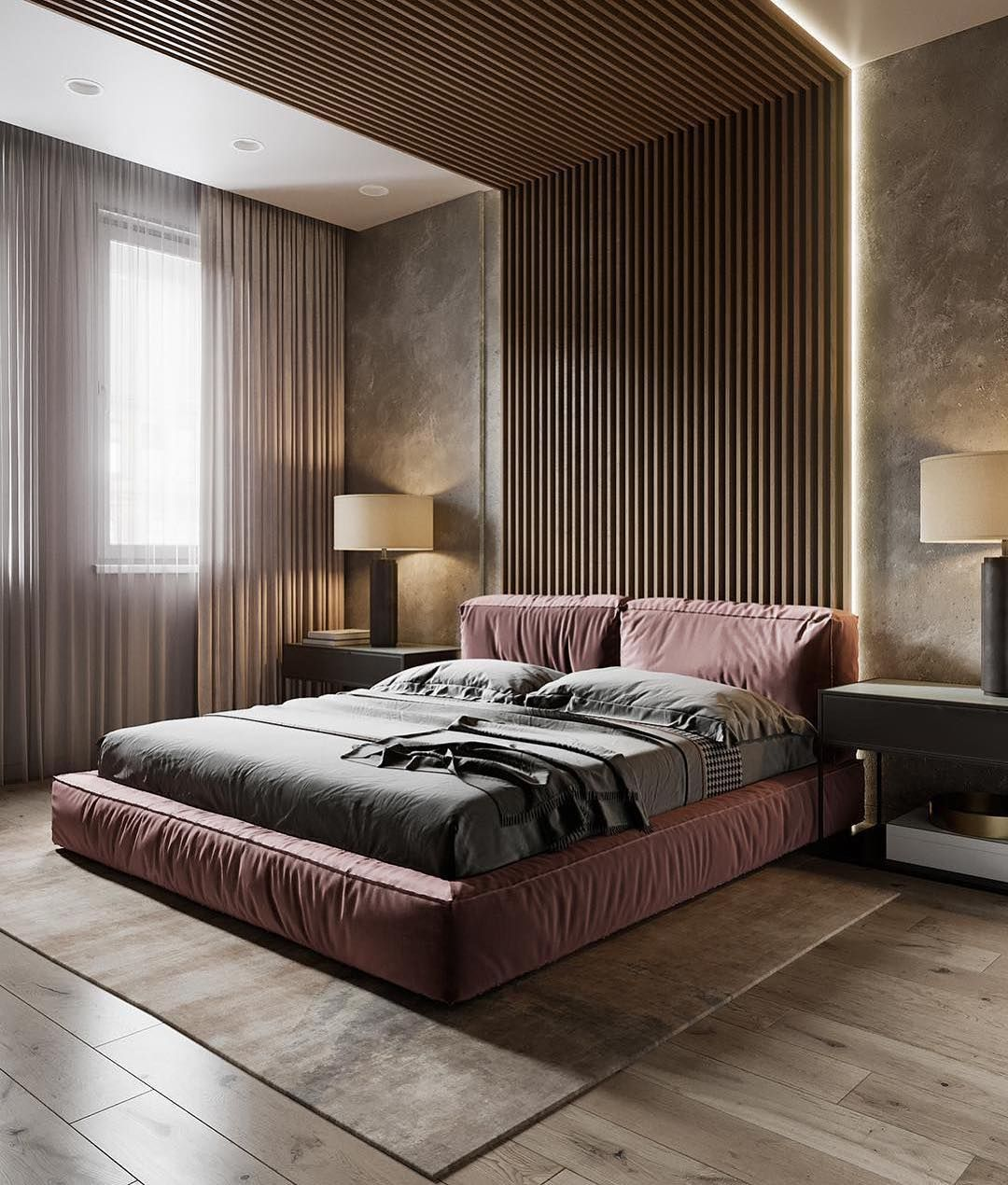 Marvelous bedroom design with crimson platform bed and slatted accent wall