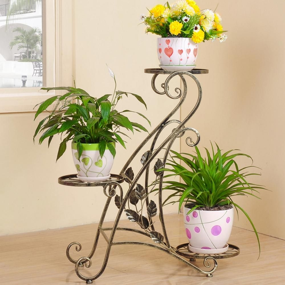metal forged flower stand for three pots