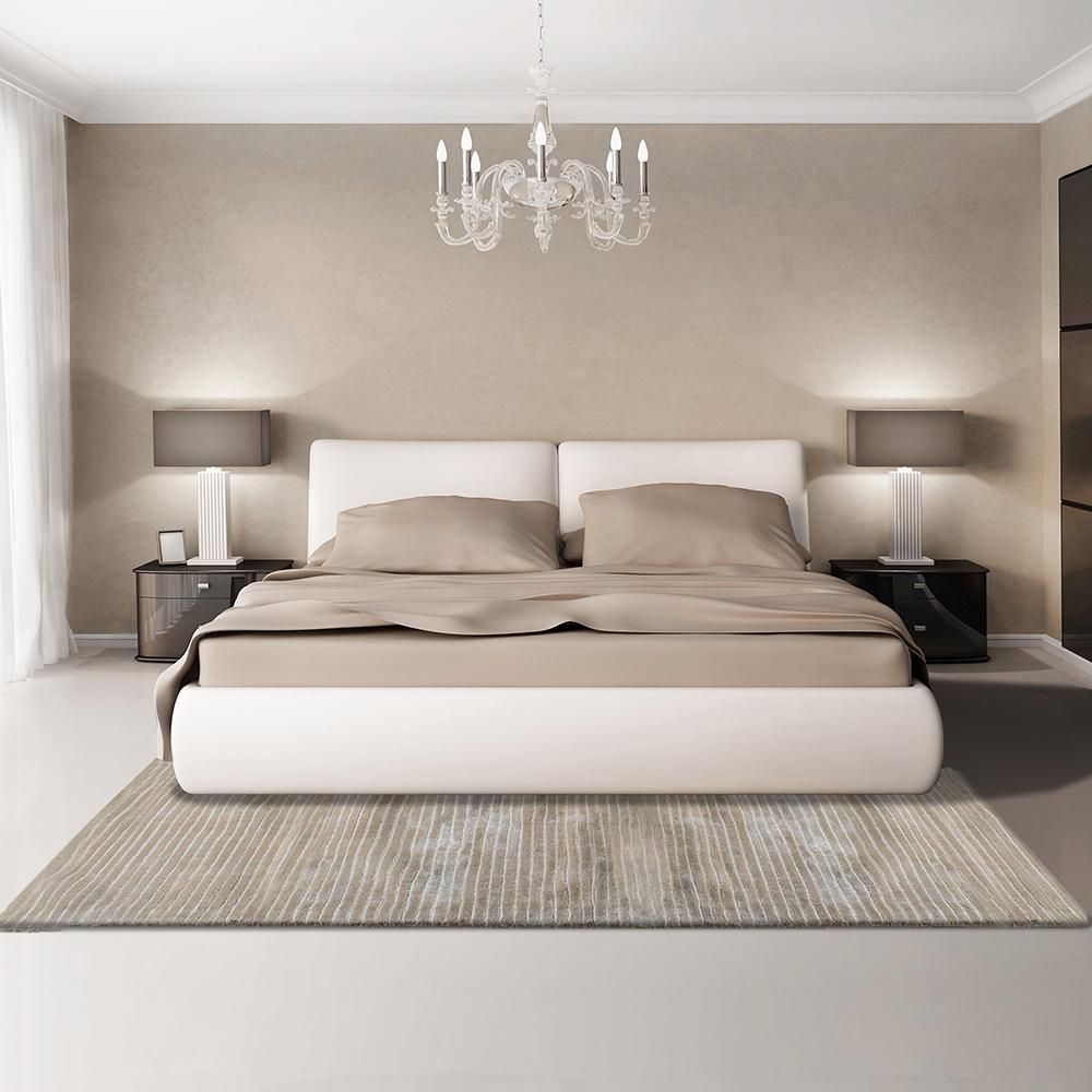 Bedroom Interior Design Ideas, Trends and Solutions 2020. Great minimalistic design of the room in pale beige colors with rug and two bedside lamps