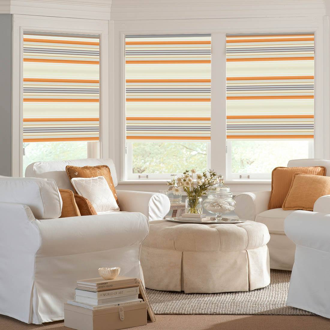 Colorful lines on roller blinds